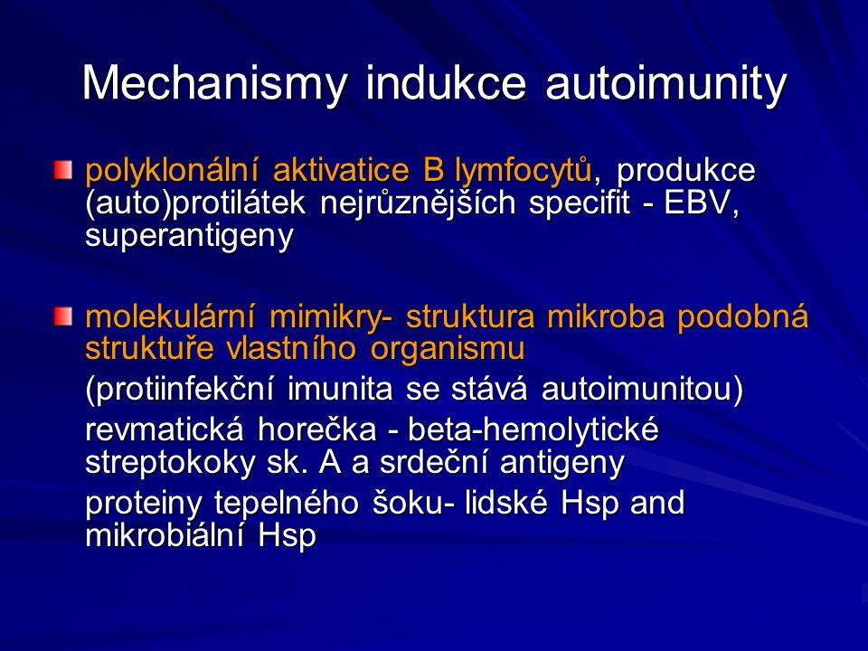 Mechanismy indukce autoimunity polyklonální aktivatice B lymfocytů, produkce (auto)protilátek nejrůznějších specifit - EBV, superantigeny molekulární