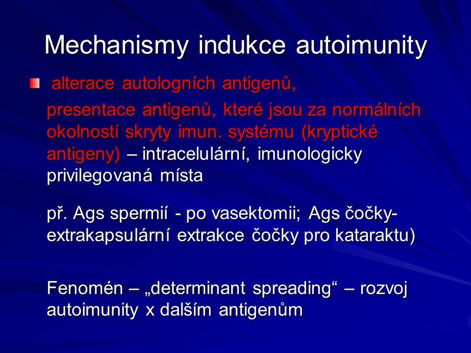 Mechanismy indukce autoimunity alterace autologních antigenů, alterace autologních antigenů, presentace antigenů, které jsou za normálních okolností s