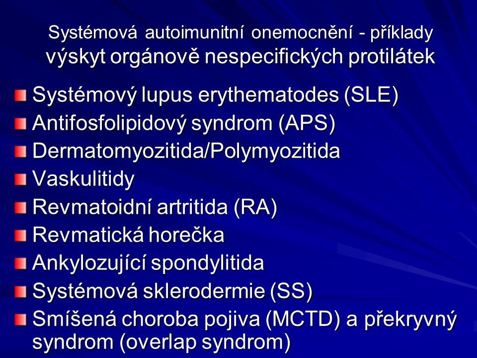 Systémová autoimunitní onemocnění - příklady výskyt orgánově nespecifických protilátek Systémový lupus erythematodes (SLE) Antifosfolipidový syndrom (