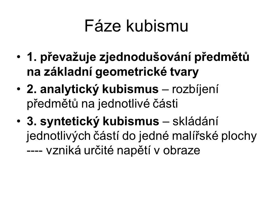 Fáze kubismu 1. převažuje zjednodušování předmětů na základní geometrické tvary 2. analytický kubismus – rozbíjení předmětů na jednotlivé části 3. syn