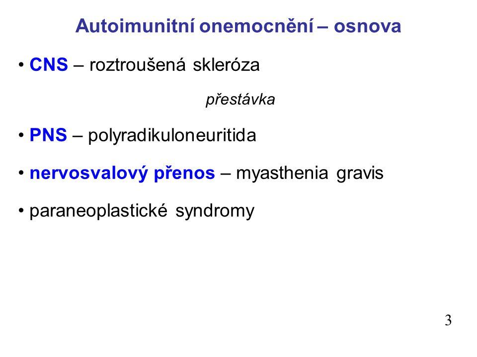 Autoimunitní onemocnění – osnova CNS – roztroušená skleróza přestávka PNS – polyradikuloneuritida nervosvalový přenos – myasthenia gravis paraneoplastické syndromy 3