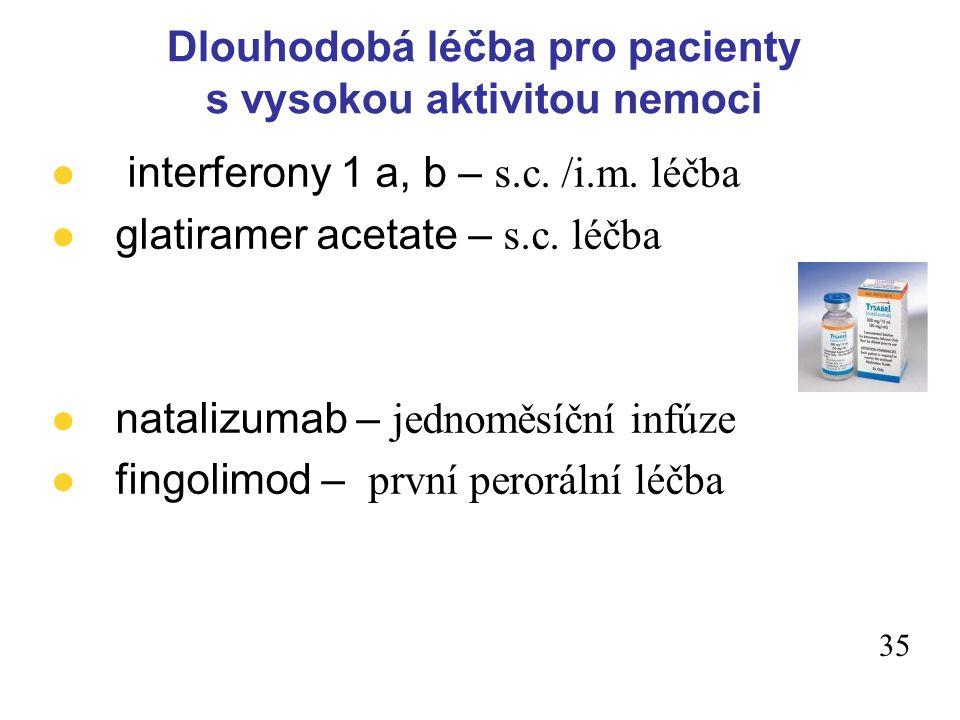 34 imunosupresivní léky l azathioprin l cyclophosphamid l cyclosporin l methotrexát l mitoxantron Dlouhodobá léčba