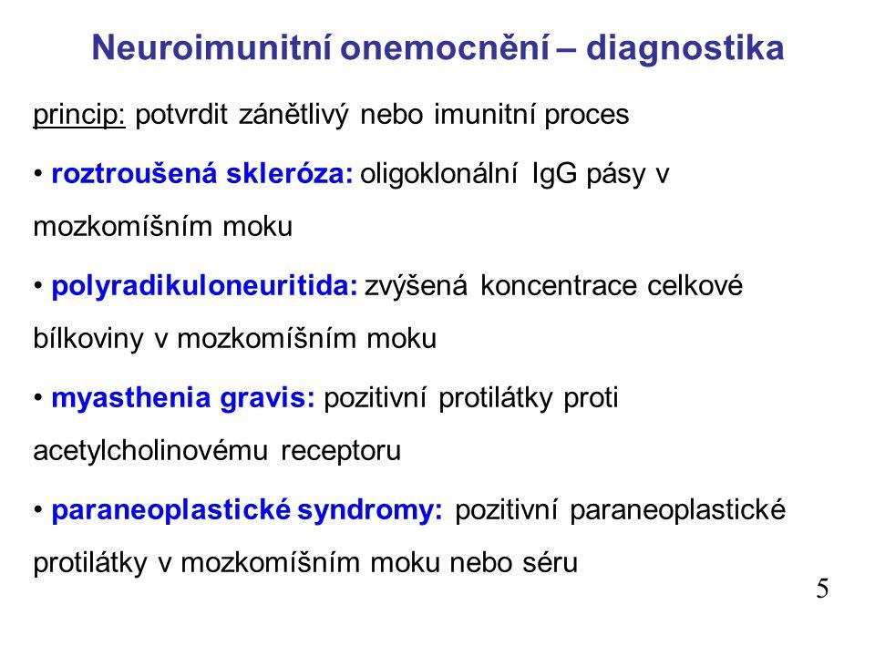 Neuroimunitní onemocnění – diagnostika princip: potvrdit zánětlivý nebo imunitní proces roztroušená skleróza: oligoklonální IgG pásy v mozkomíšním moku polyradikuloneuritida: zvýšená koncentrace celkové bílkoviny v mozkomíšním moku myasthenia gravis: pozitivní protilátky proti acetylcholinovému receptoru paraneoplastické syndromy: pozitivní paraneoplastické protilátky v mozkomíšním moku nebo séru 5