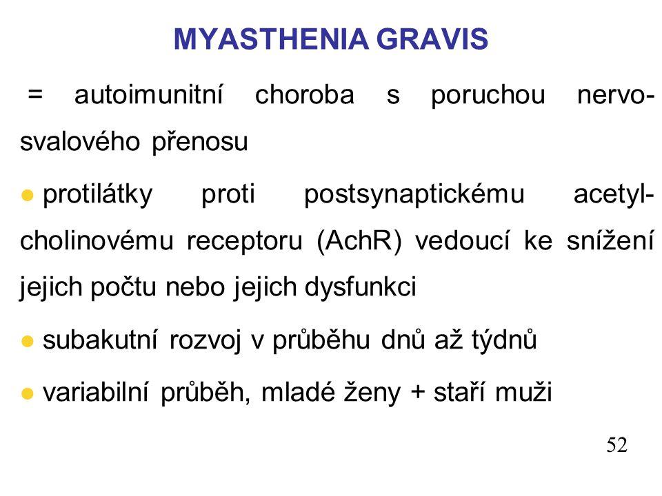 = autoimunitní choroba s poruchou nervo- svalového přenosu l protilátky proti postsynaptickému acetyl- cholinovému receptoru (AchR) vedoucí ke snížení jejich počtu nebo jejich dysfunkci l subakutní rozvoj v průběhu dnů až týdnů l variabilní průběh, mladé ženy + staří muži MYASTHENIA GRAVIS 52