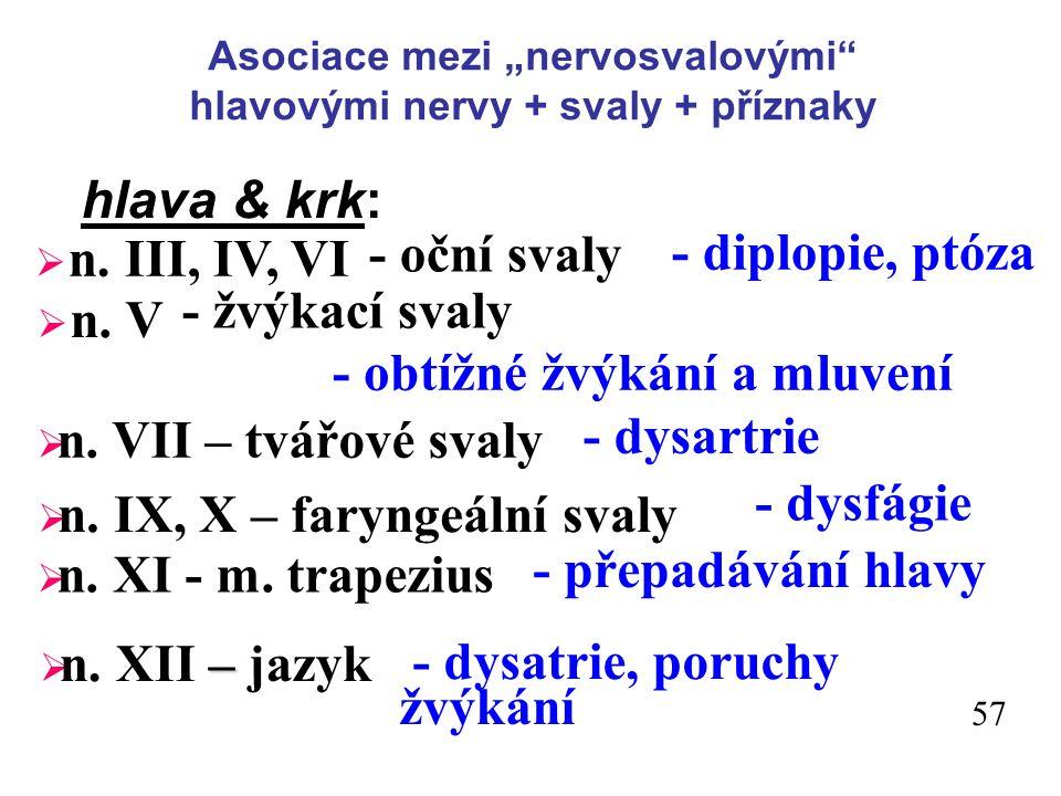 """Asociace mezi """"nervosvalovými hlavovými nervy + svaly + příznaky hlava & krk: - oční svaly - diplopie, ptóza  n."""