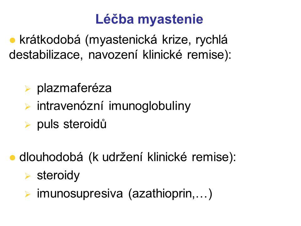 MYASTHENIA GRAVIS – typy léčby l porucha nervosvalového přenosu – inhibitory acetylcholinesterázy – pyridostigmin ( Mestinon), ambenonium (Mytelase),