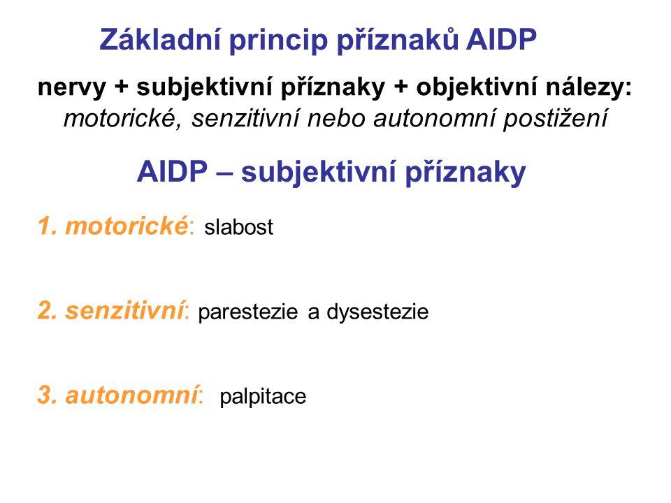AIDP – subjektivní příznaky 1.motorické: slabost 2.