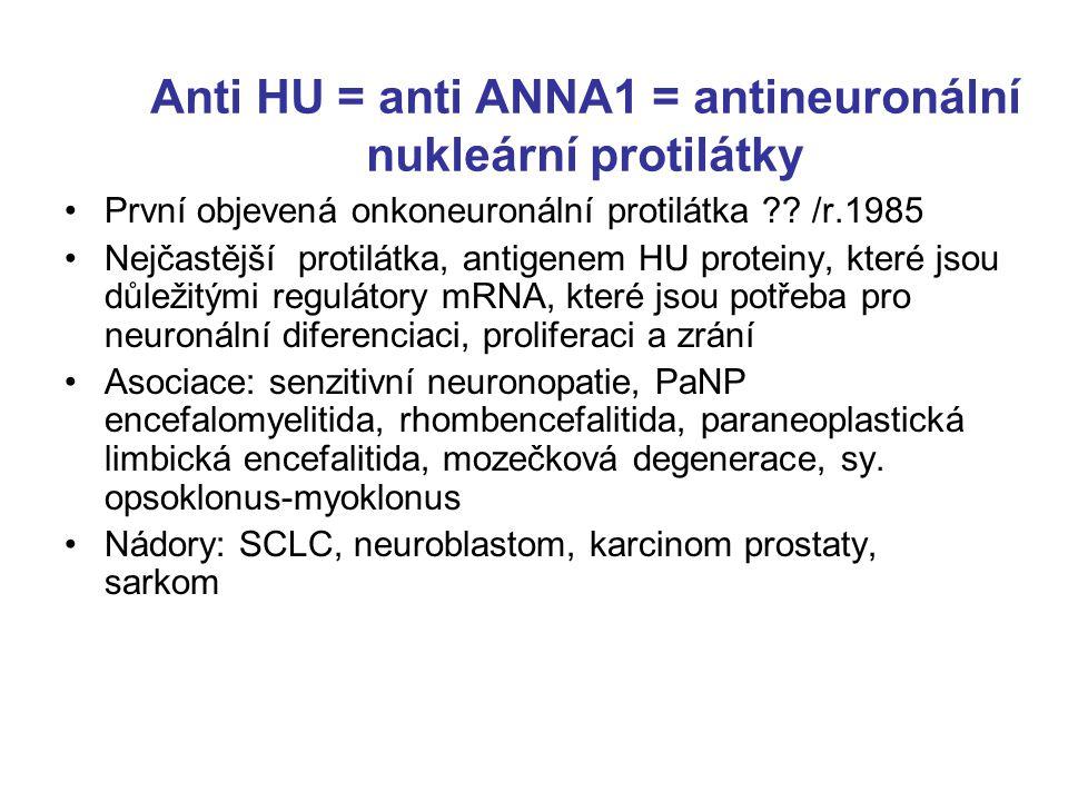 Anti HU = anti ANNA1 = antineuronální nukleární protilátky První objevená onkoneuronální protilátka ?.