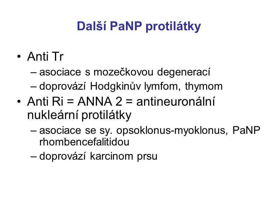 Anti NMDAR Anti NMDAR /N-Metyl-D- Aspartat-Receptor: asociován s encefalitidou Anti NMDAR encefalitida = sy. difůzní kortikální encefalitidy –nepatří