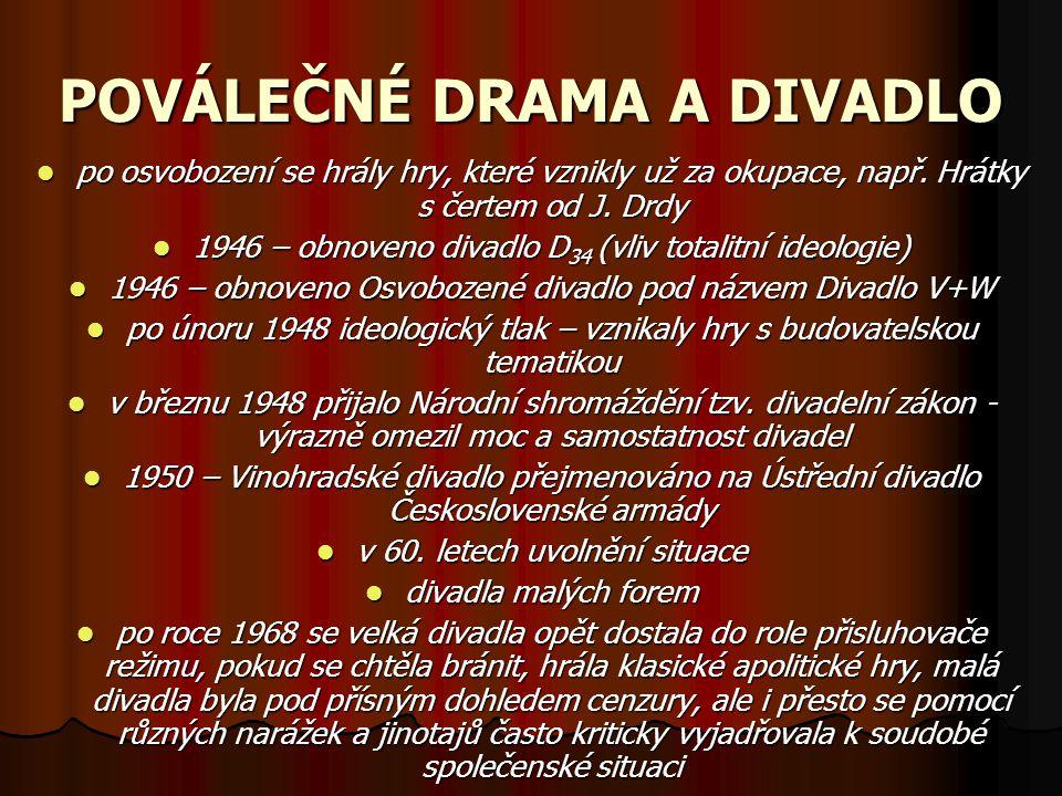 POVÁLEČNÉ DRAMA A DIVADLO po osvobození se hrály hry, které vznikly už za okupace, např. Hrátky s čertem od J. Drdy 1946 – obnoveno divadlo D34 (vliv