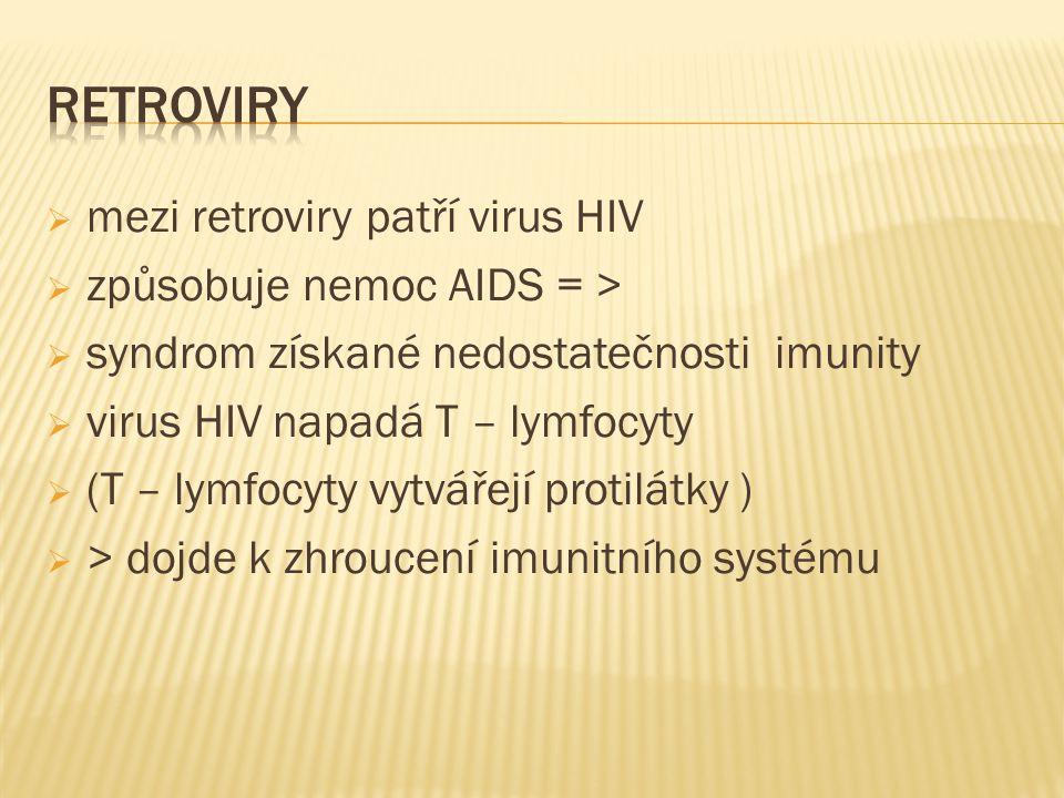  mezi retroviry patří virus HIV  způsobuje nemoc AIDS = >  syndrom získané nedostatečnosti imunity  virus HIV napadá T – lymfocyty  (T – lymfocyty vytvářejí protilátky )  > dojde k zhroucení imunitního systému