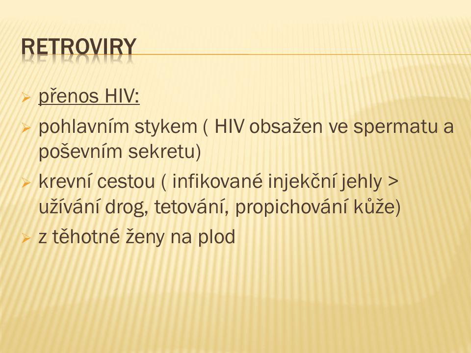  přenos HIV:  pohlavním stykem ( HIV obsažen ve spermatu a poševním sekretu)  krevní cestou ( infikované injekční jehly > užívání drog, tetování, propichování kůže)  z těhotné ženy na plod