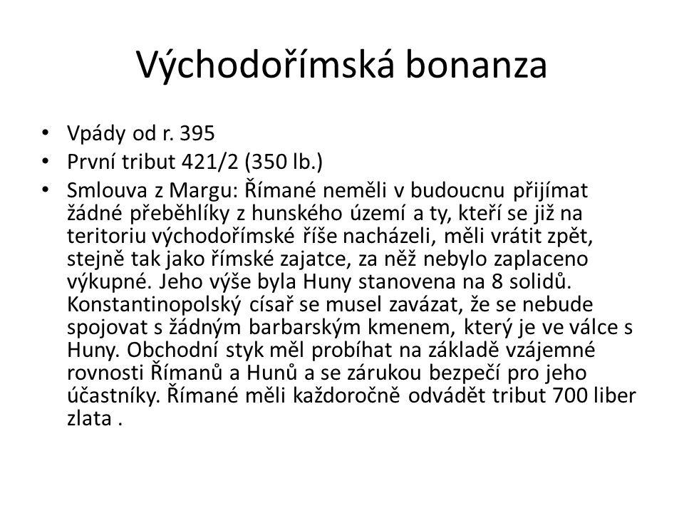 Východořímská bonanza Vpády od r. 395 První tribut 421/2 (350 lb.) Smlouva z Margu: Římané neměli v budoucnu přijímat žádné přeběhlíky z hunského územ