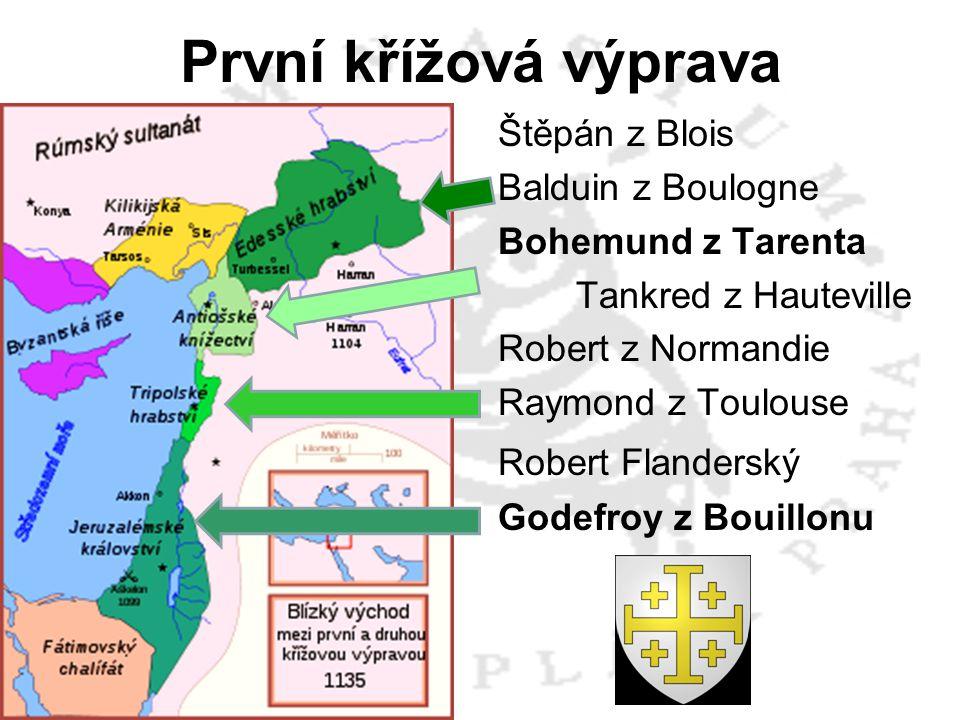 Štěpán z Blois Balduin z Boulogne Bohemund z Tarenta Tankred z Hauteville Robert z Normandie Raymond z Toulouse Robert Flanderský Godefroy z Bouillonu