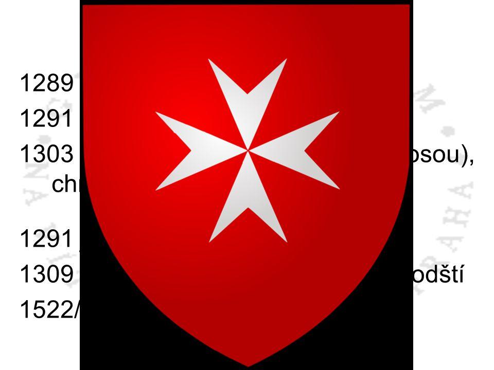 Křížové výpravy 1289 dobyt Tripolis 1291 dobyt Akkon 1303 padla pevnost Ruad (nad Tortosou), chráněná templáři 1291 johanité přesídlili na Kypr 1309 p