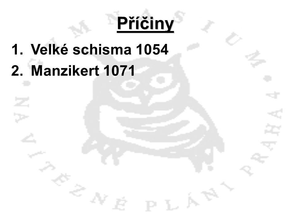 Příčiny 1.Velké schisma 1054 2.Manzikert 1071