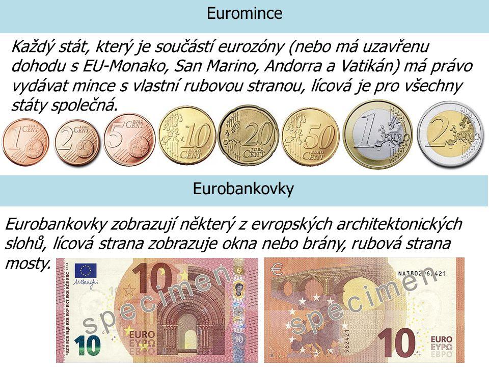 Euromince Eurobankovky Každý stát, který je součástí eurozóny (nebo má uzavřenu dohodu s EU-Monako, San Marino, Andorra a Vatikán) má právo vydávat mi