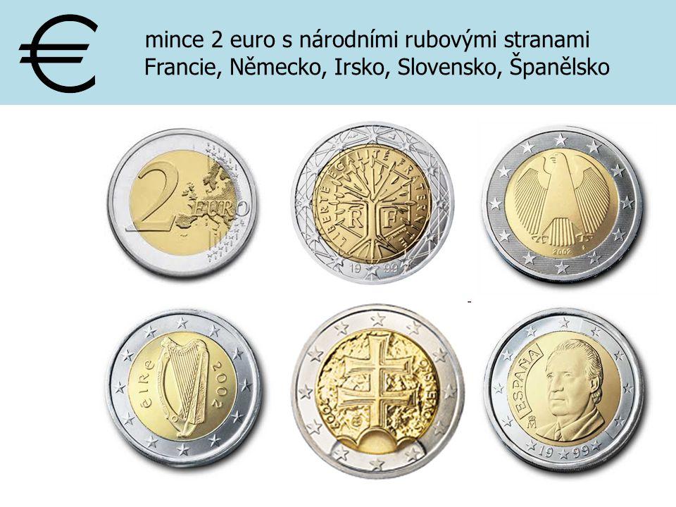 mince 2 euro s národními rubovými stranami Francie, Německo, Irsko, Slovensko, Španělsko