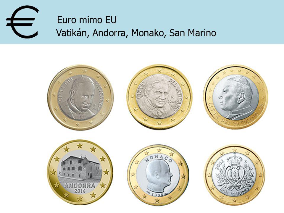 Euro mimo EU Vatikán, Andorra, Monako, San Marino