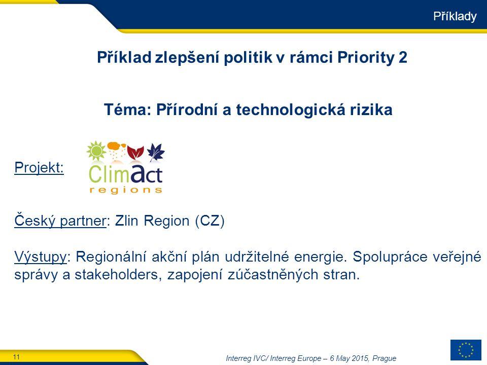 11 Interreg IVC/ Interreg Europe – 6 May 2015, Prague Téma: Přírodní a technologická rizika Projekt: Český partner: Zlin Region (CZ) Výstupy: Regionální akční plán udržitelné energie.