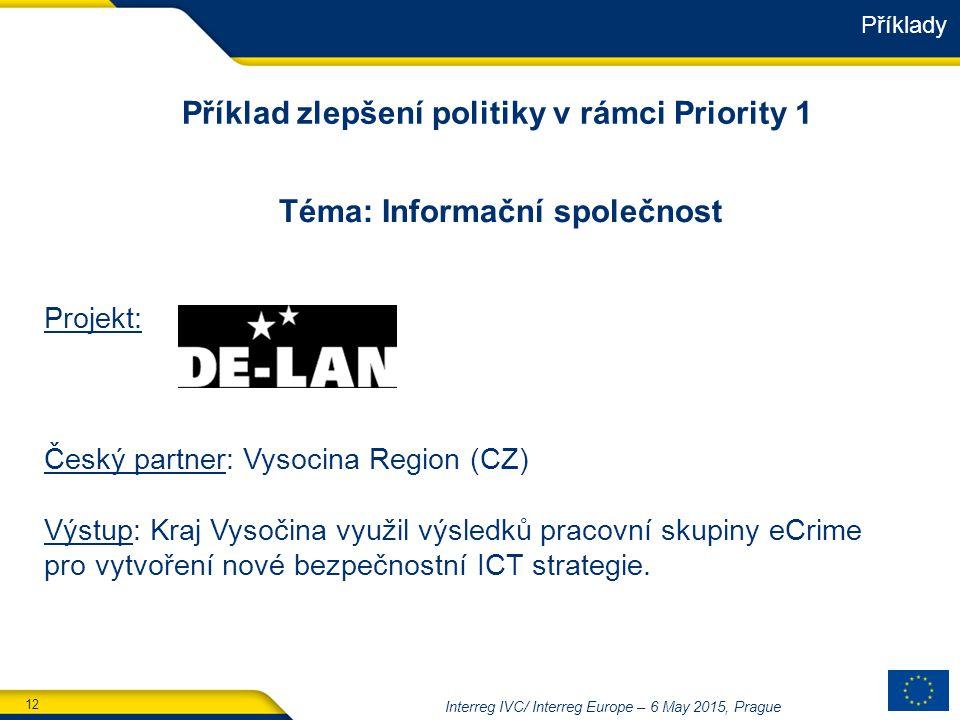 12 Interreg IVC/ Interreg Europe – 6 May 2015, Prague Téma: Informační společnost Projekt: Český partner: Vysocina Region (CZ) Výstup: Kraj Vysočina využil výsledků pracovní skupiny eCrime pro vytvoření nové bezpečnostní ICT strategie.