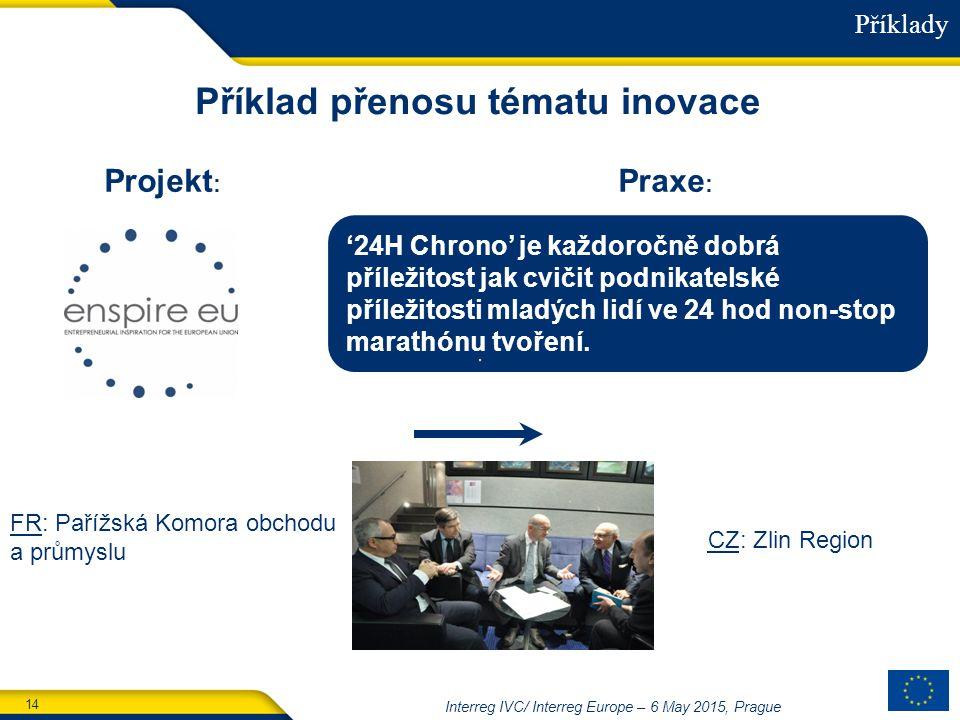 14 Interreg IVC/ Interreg Europe – 6 May 2015, Prague Příklad přenosu tématu inovace Praxe : Projekt : '24H Chrono' je každoročně dobrá příležitost jak cvičit podnikatelské příležitosti mladých lidí ve 24 hod non-stop marathónu tvoření.