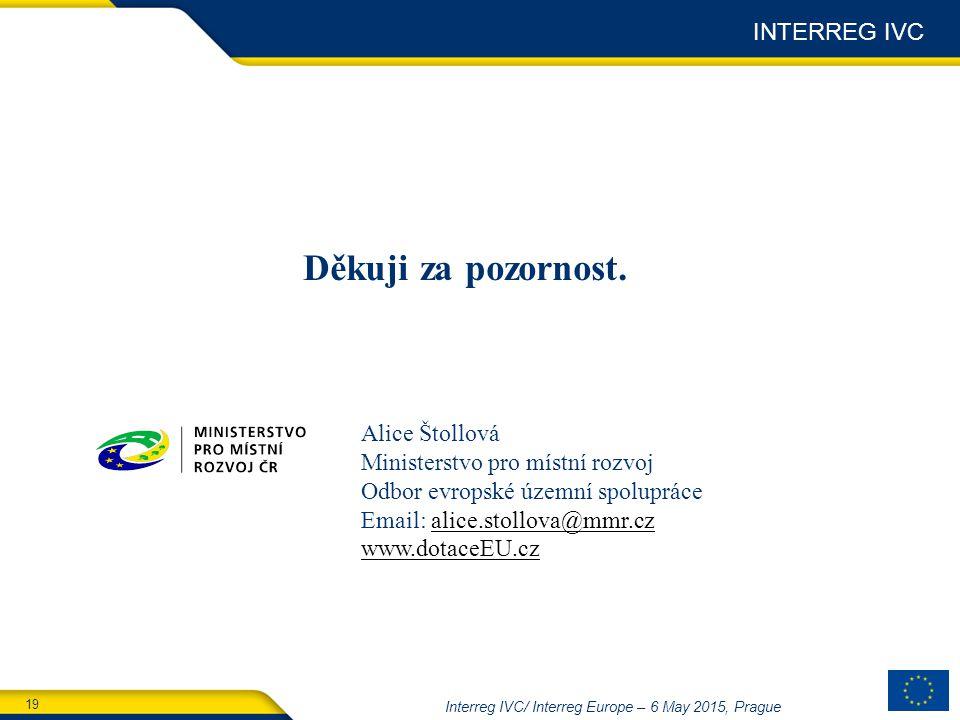 19 Interreg IVC/ Interreg Europe – 6 May 2015, Prague Děkuji za pozornost.