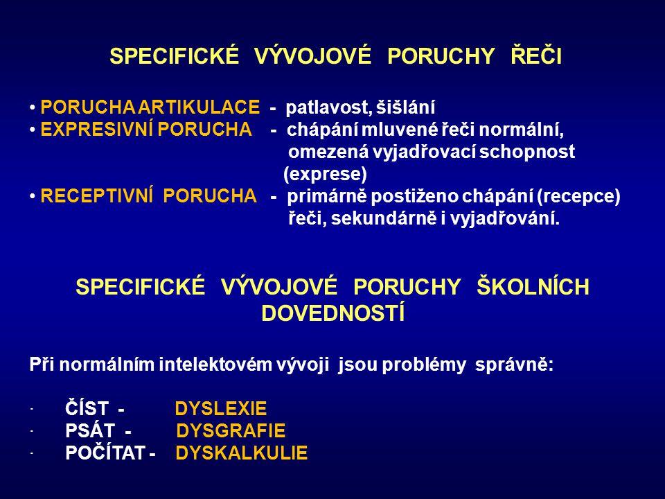 SPECIFICKÉ VÝVOJOVÉ PORUCHY ŘEČI PORUCHA ARTIKULACE - patlavost, šišlání EXPRESIVNÍ PORUCHA - chápání mluvené řeči normální, omezená vyjadřovací schop