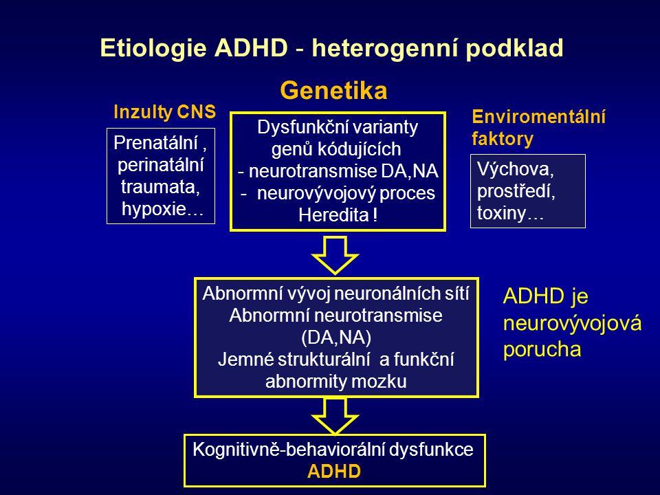 Genetika Enviromentální faktory Inzulty CNS Etiologie ADHD - heterogenní podklad Abnormní vývoj neuronálních sítí Abnormní neurotransmise (DA,NA) Jemn