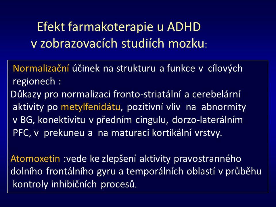 Normalizační účinek na strukturu a funkce v cílových regionech : Důkazy pro normalizaci fronto-striatální a cerebelární aktivity po metylfenidátu, poz