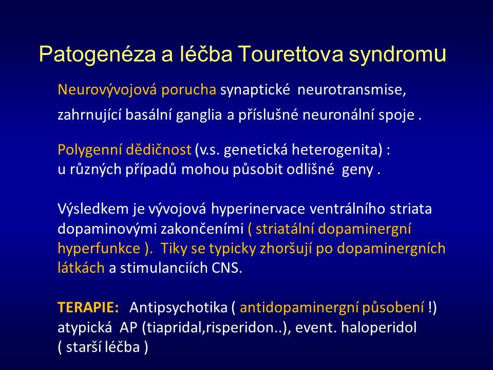 Patogenéza a léčba Tourettova syndrom u Neurovývojová porucha synaptické neurotransmise, zahrnující basální ganglia a příslušné neuronální spoje. Poly