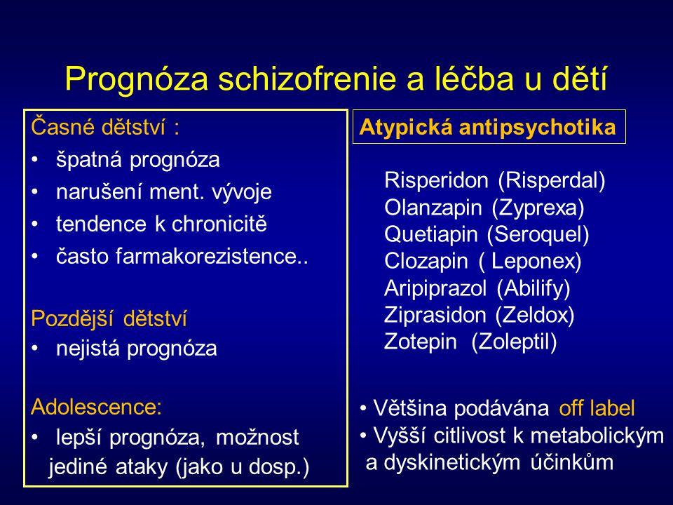 Prognóza schizofrenie a léčba u dětí Časné dětství : špatná prognóza narušení ment. vývoje tendence k chronicitě často farmakorezistence.. Pozdější dě