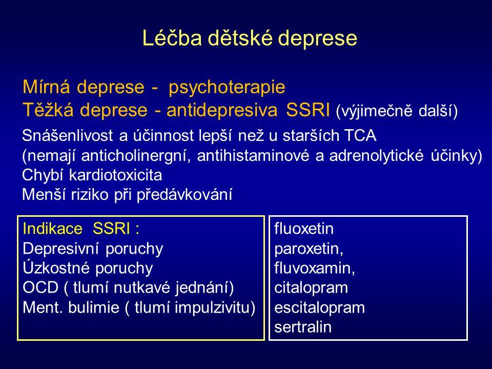Léčba dětské deprese Indikace SSRI : Depresivní poruchy Úzkostné poruchy OCD ( tlumí nutkavé jednání) Ment. bulimie ( tlumí impulzivitu) fluoxetin par