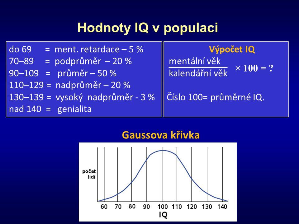 Hodnoty IQ v populaci Výpočet IQ mentální věk kalendářní věk Číslo 100= průměrné IQ. do 69 = ment. retardace – 5 % 70–89 = podprůměr – 20 % 90–109 = p