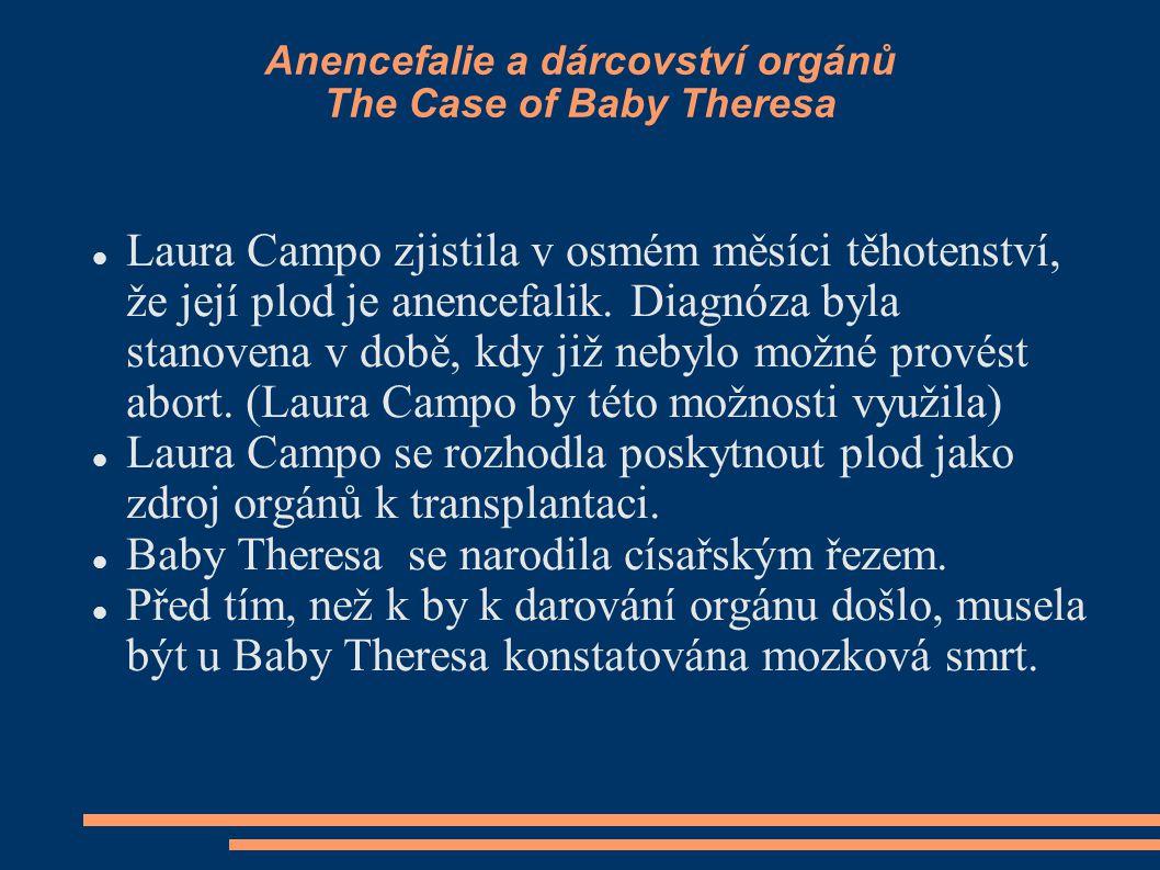 Anencefalie a dárcovství orgánů The Case of Baby Theresa Laura Campo zjistila v osmém měsíci těhotenství, že její plod je anencefalik. Diagnóza byla s