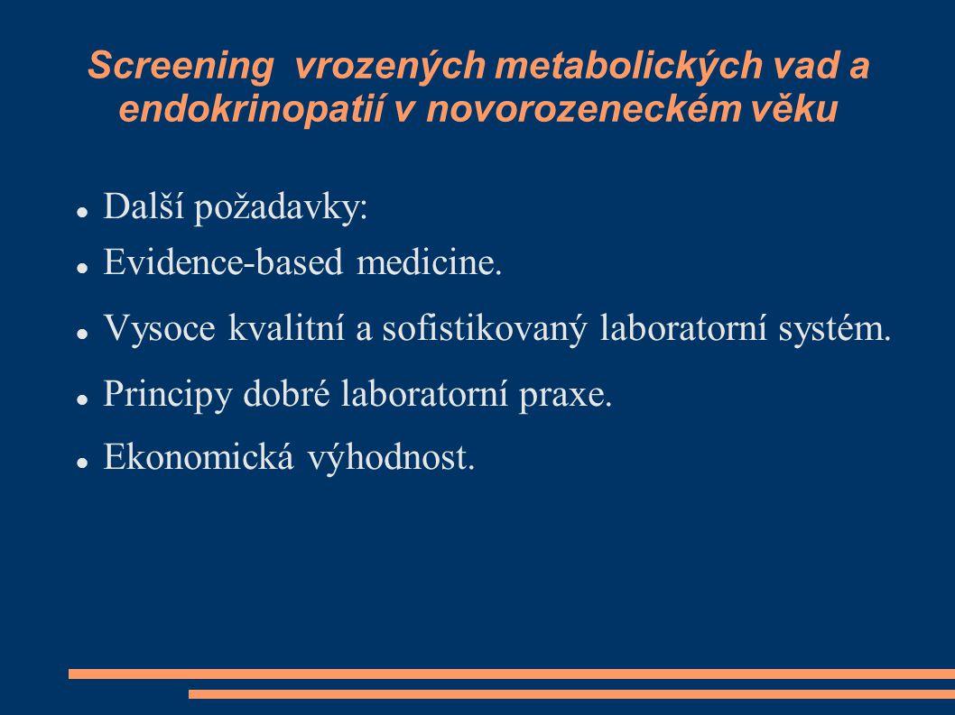 Screening vrozených metabolických vad a endokrinopatií v novorozeneckém věku Další požadavky: Evidence-based medicine. Vysoce kvalitní a sofistikovaný