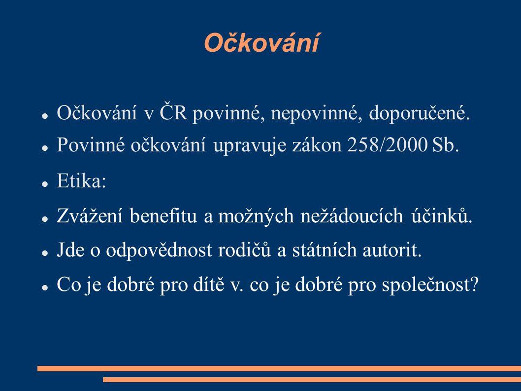 Očkování Očkování v ČR povinné, nepovinné, doporučené. Povinné očkování upravuje zákon 258/2000 Sb. Etika: Zvážení benefitu a možných nežádoucích účin