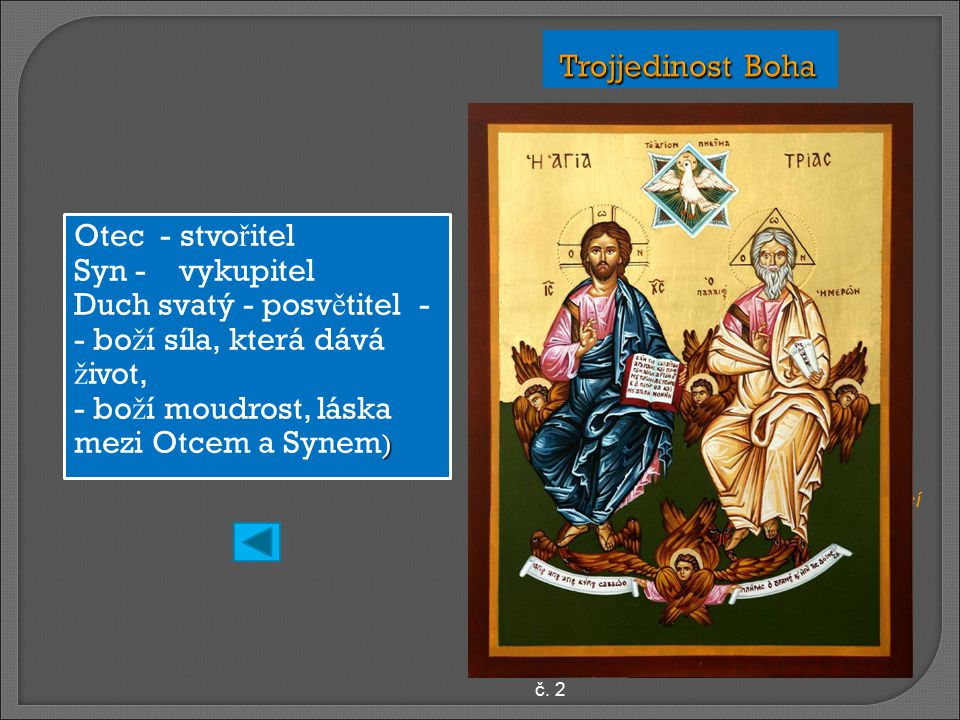 Otec - stvo ř itel Syn - vykupitel Duch svatý - posv ě titel - - bo ž í síla, která dává ž ivot, ) - bo ž í moudrost, láska mezi Otcem a Synem ) ikona