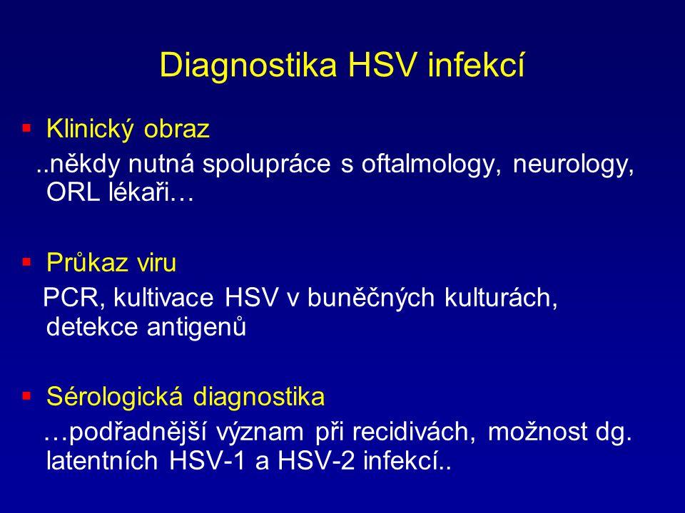 Diagnostika HSV infekcí  Klinický obraz..někdy nutná spolupráce s oftalmology, neurology, ORL lékaři…  Průkaz viru PCR, kultivace HSV v buněčných ku