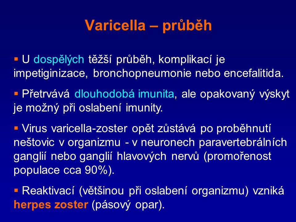 Varicella – průběh  U dospělých těžší průběh, komplikací je impetiginizace, bronchopneumonie nebo encefalitida.  Přetrvává dlouhodobá imunita, ale o