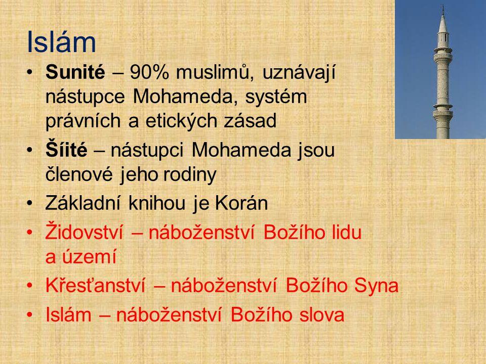 Islám Sunité – 90% muslimů, uznávají nástupce Mohameda, systém právních a etických zásad Šíité – nástupci Mohameda jsou členové jeho rodiny Základní k