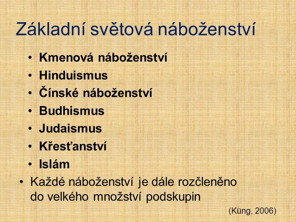 Základní světová náboženství Kmenová náboženství Hinduismus Čínské náboženství Budhismus Judaismus Křesťanství Islám Každé náboženství je dále rozčlen