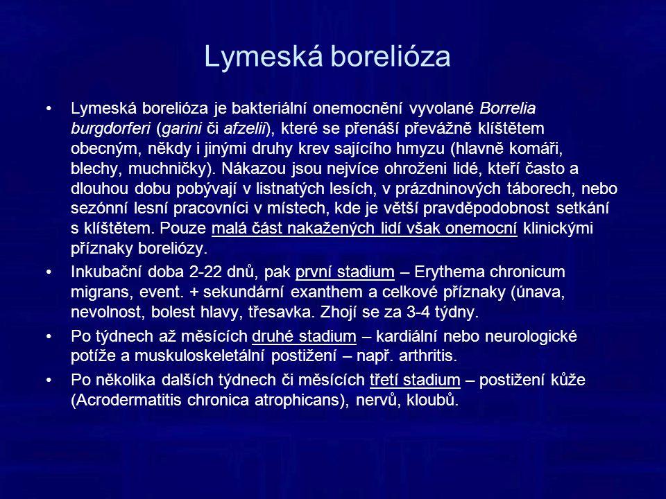 Lymeská borelióza Lymeská borelióza je bakteriální onemocnění vyvolané Borrelia burgdorferi (garini či afzelii), které se přenáší převážně klíštětem obecným, někdy i jinými druhy krev sajícího hmyzu (hlavně komáři, blechy, muchničky).