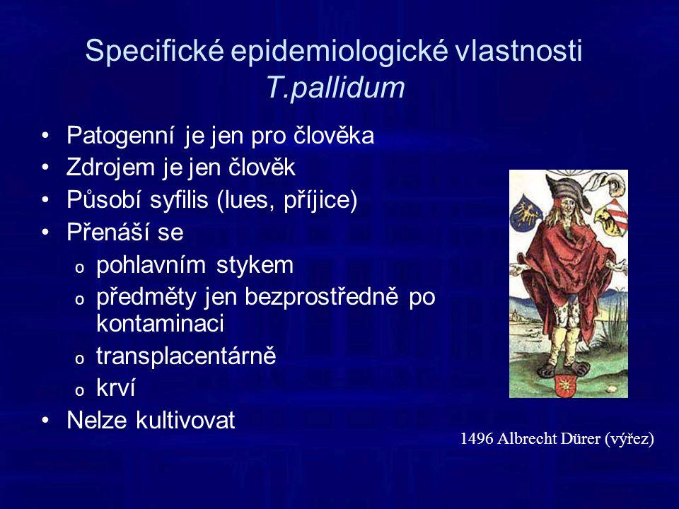 Specifické epidemiologické vlastnosti T.pallidum Patogenní je jen pro člověka Zdrojem je jen člověk Působí syfilis (lues, příjice) Přenáší se o pohlavním stykem o předměty jen bezprostředně po kontaminaci o transplacentárně o krví Nelze kultivovat 1496 Albrecht Dürer (výřez)