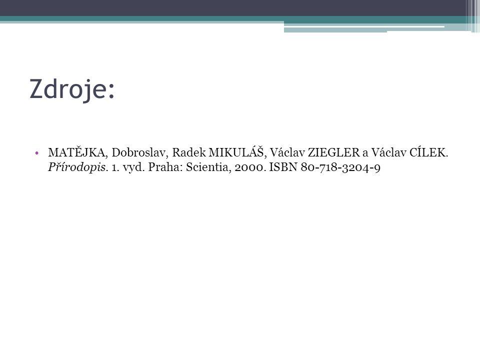 Zdroje: MATĚJKA, Dobroslav, Radek MIKULÁŠ, Václav ZIEGLER a Václav CÍLEK. Přírodopis. 1. vyd. Praha: Scientia, 2000. ISBN 80-718-3204-9