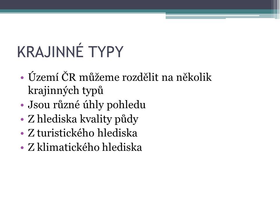 KRAJINNÉ TYPY Území ČR můžeme rozdělit na několik krajinných typů Jsou různé úhly pohledu Z hlediska kvality půdy Z turistického hlediska Z klimatického hlediska