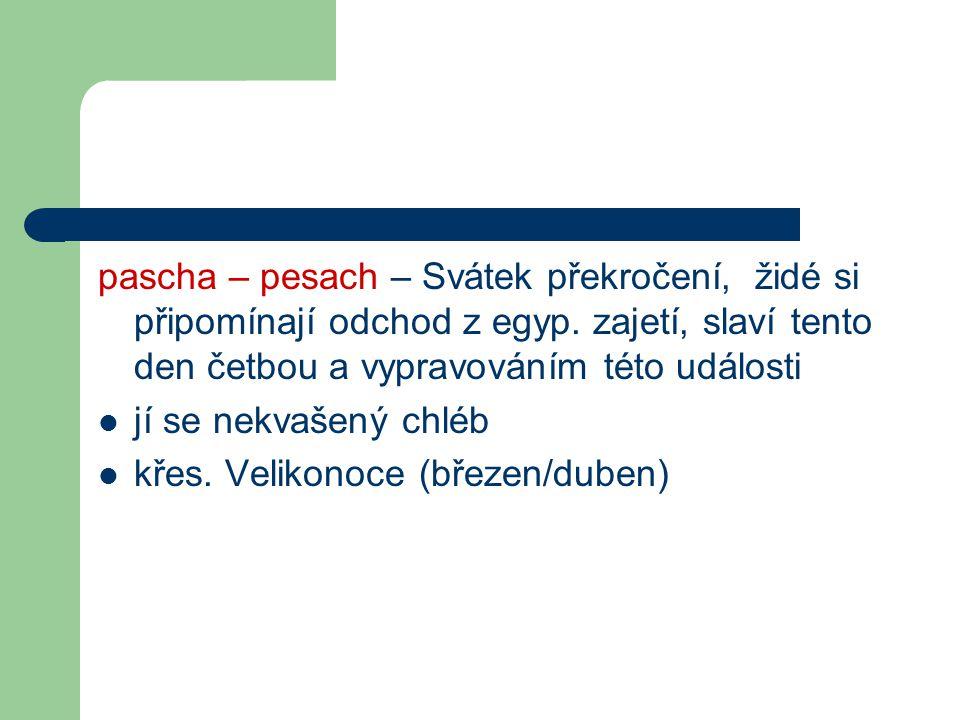 pascha – pesach – Svátek překročení, židé si připomínají odchod z egyp. zajetí, slaví tento den četbou a vypravováním této události jí se nekvašený ch