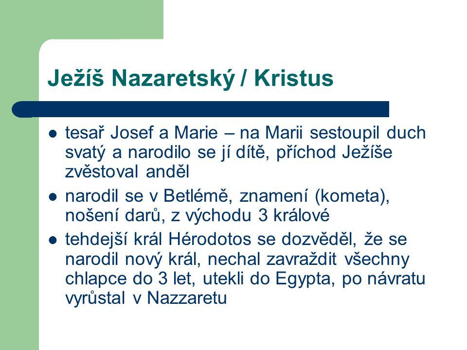 Ježíš Nazaretský / Kristus tesař Josef a Marie – na Marii sestoupil duch svatý a narodilo se jí dítě, příchod Ježíše zvěstoval anděl narodil se v Betl