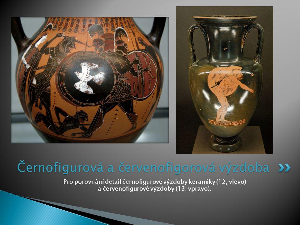 Pro porovnání detail černofigurové výzdoby keramiky (12; vlevo) a červenofigurové výzdoby (13; vpravo).