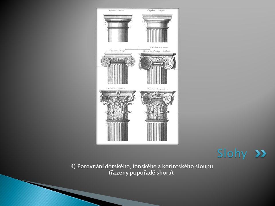 4) Porovnání dórského, iónského a korintského sloupu (řazeny popořadě shora). Slohy